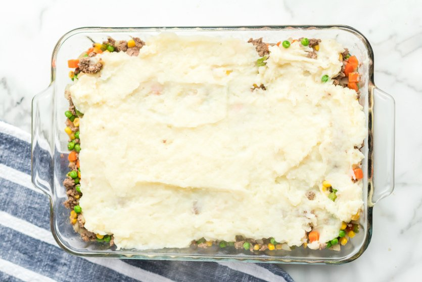 Easy Shepherds Pie Recipe - mashed potatoes placed on top of casserole