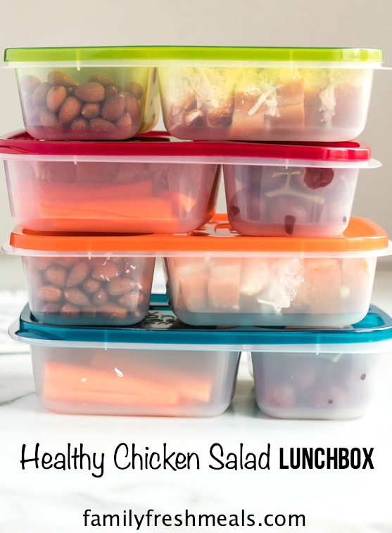 Healthy Chicken Salad lunchbox Idea -- A great work or school lunch idea! Family Fresh Meals recipe