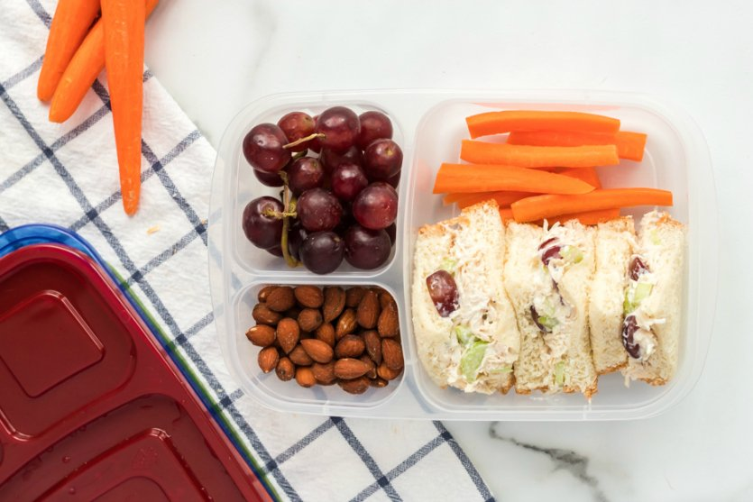 Healthy Chicken Salad lunchbox Idea - Packed in Easy Lunch Boxes with grapes, carrots and nuts- Family Fresh Meals recipe
