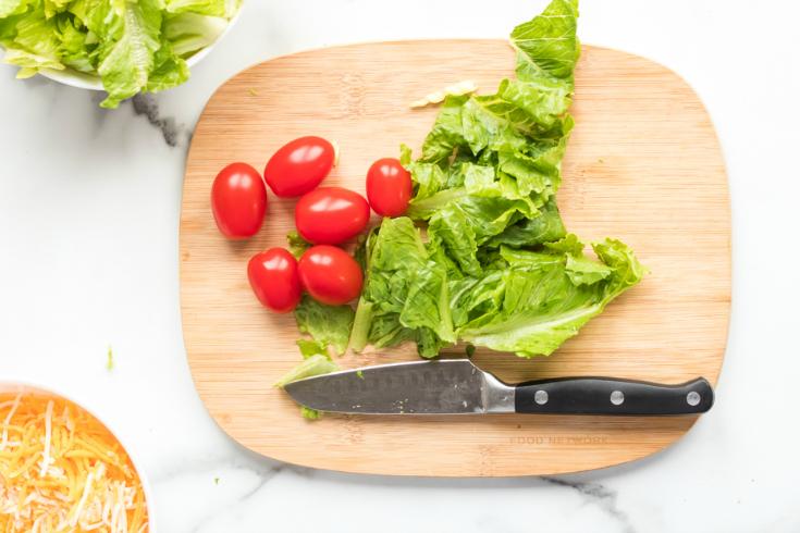 Healthy Taco Salad Lunchbox Idea - Fresh Ingredients on cutting board