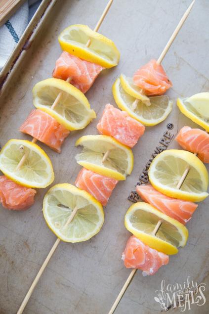 Lemon Salmon Kabobs - Salmon kabob on a baking sheet - Family Fresh Meals