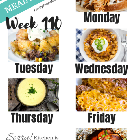 Easy Weekly Meal Plan Week 110