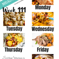 Easy Weekly Meal Plan Week 111