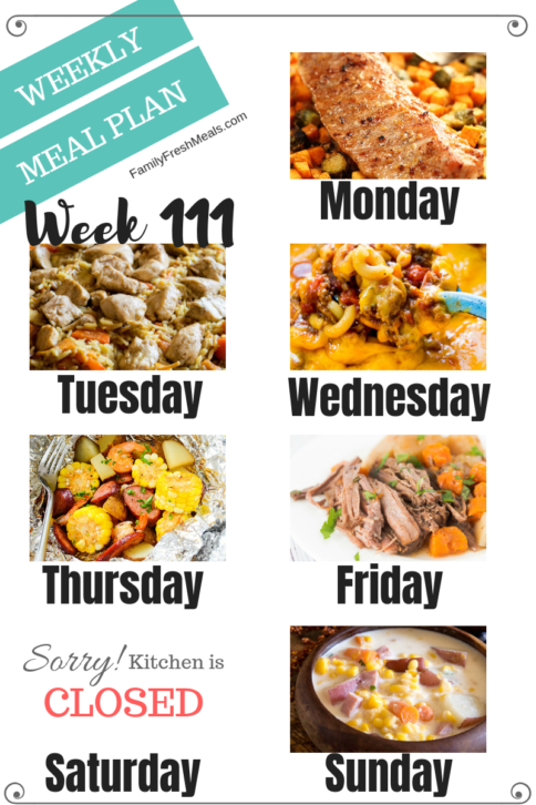Easy Weekly Meal Plan Week 111 - Family Fresh Meals