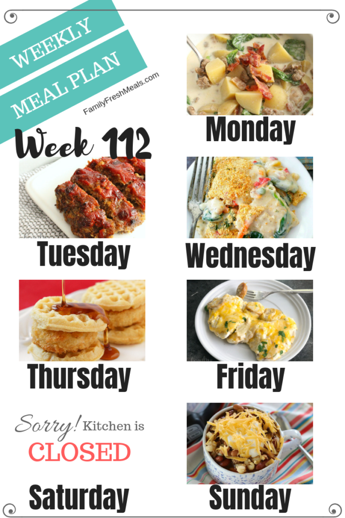 Easy Weekly Meal Plan Week 112- Family Fresh Meals