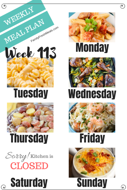 Easy Weekly Meal Plan Week 113- Family Fresh Meals