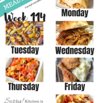 Easy Weekly Meal Plan Week 114
