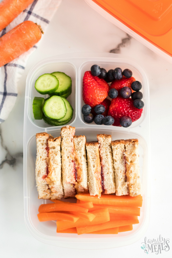 Peanut Butter Jelly Protein Box - Easy Lunchbox Idea - Family Fresh Meals