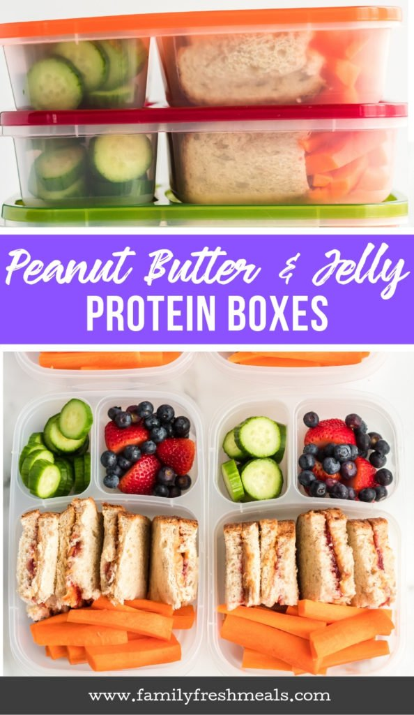 Peanut Butter Jelly Protein Box - Easy School and Work Lunchboxes - Family Fresh Meals