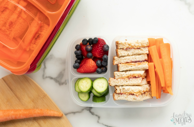 Peanut Butter Jelly Protein Box - Healthy Lunchbox Idea - Family Fresh Meals