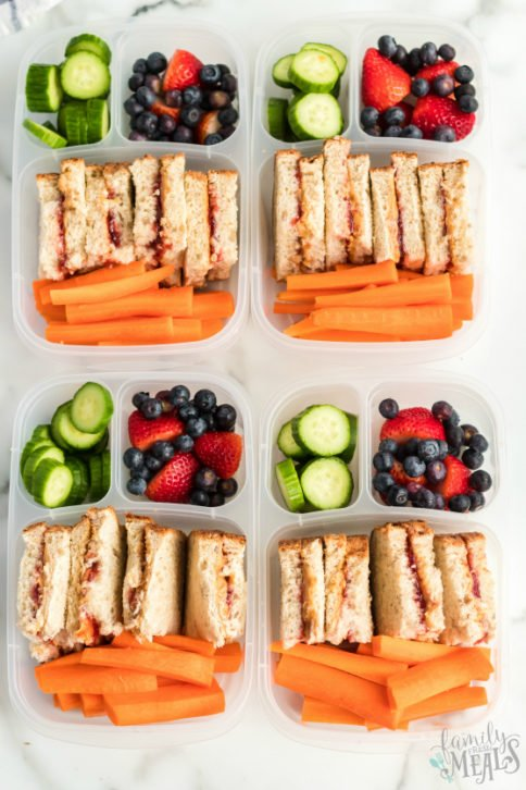 Peanut Butter Jelly Protein Lunch Box - Easy Lunchbox Idea - Family Fresh Meals