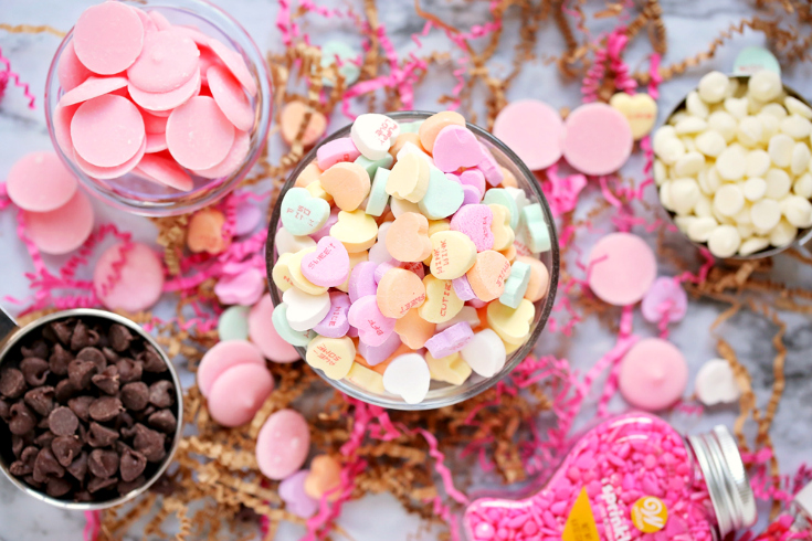 Valentine's Day Chocolate Bark - Conversation hearts in a small bowl, and chocolate chips