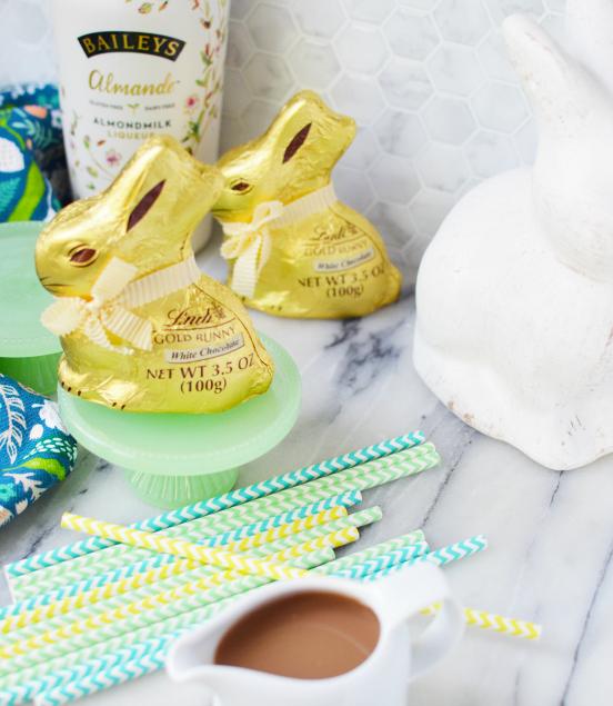 Chocolate Boozy Bunnies - Chocolate bunnies, straws, Bailey's and coffee - Family Fresh Meals