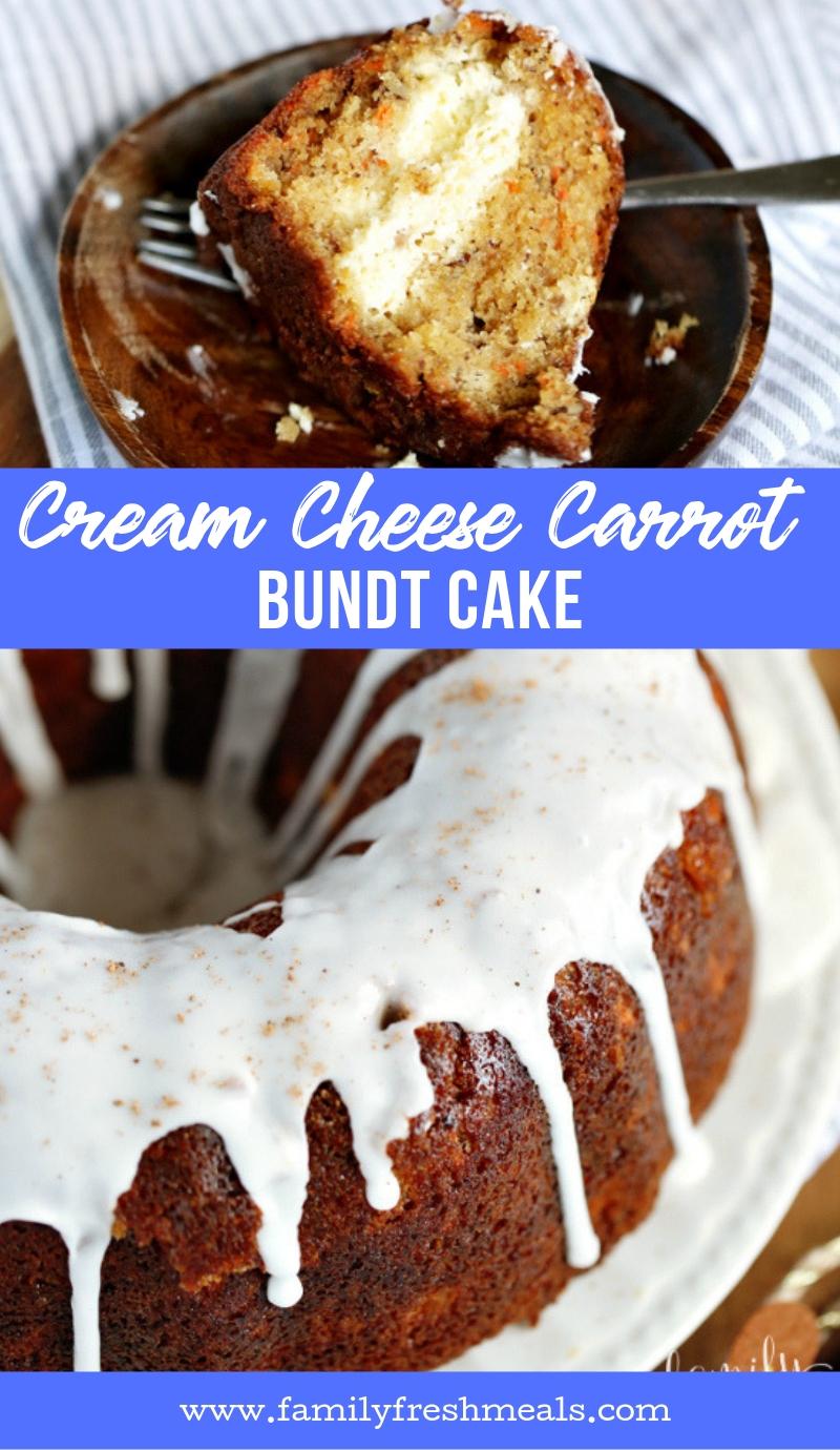 Cream Cheese Carrot Bundt Cake #familyfreshmeals #carrotcake #carrot #cake #easter #creamcheese #easyrecipe via @familyfresh