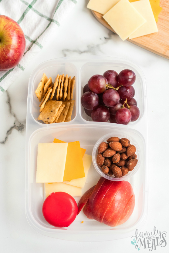 DIY Cheese and Crackers Lunchables - Packed in easylunchboxes container - Family Fresh Meals