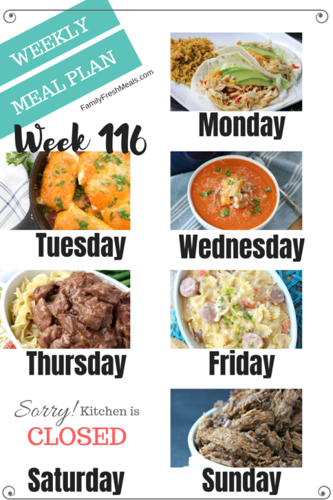 Easy Weekly Meal Plan Week 116