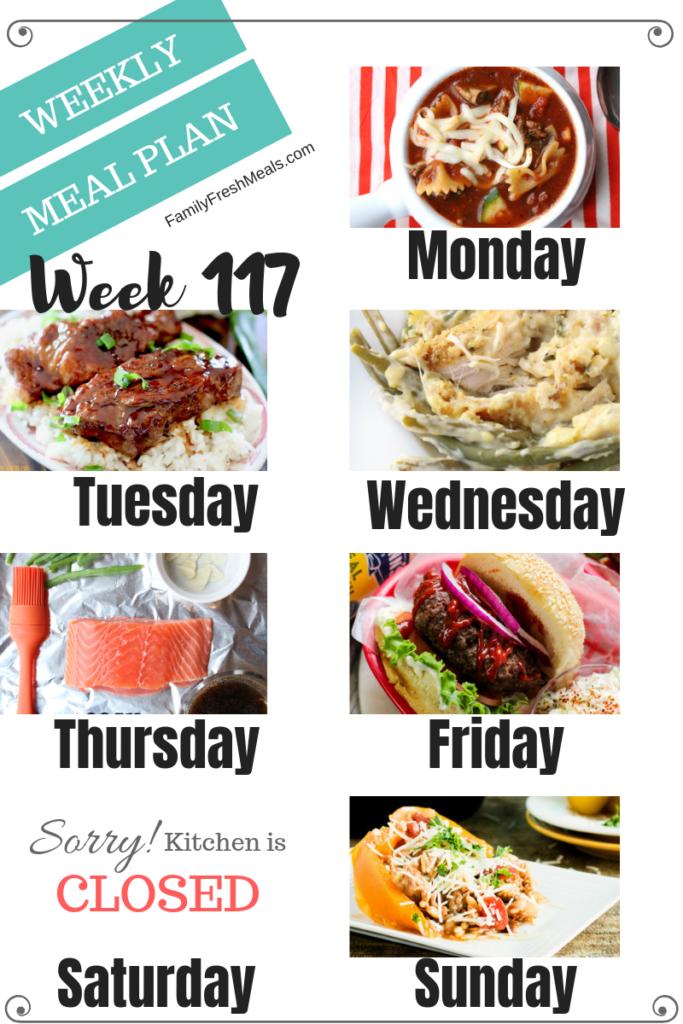 Easy Weekly Meal Plan Week 117