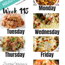 Easy Weekly Meal Plan Week 118