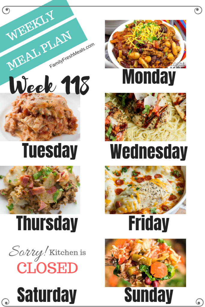 Easy Weekly Meal Plan Week 118