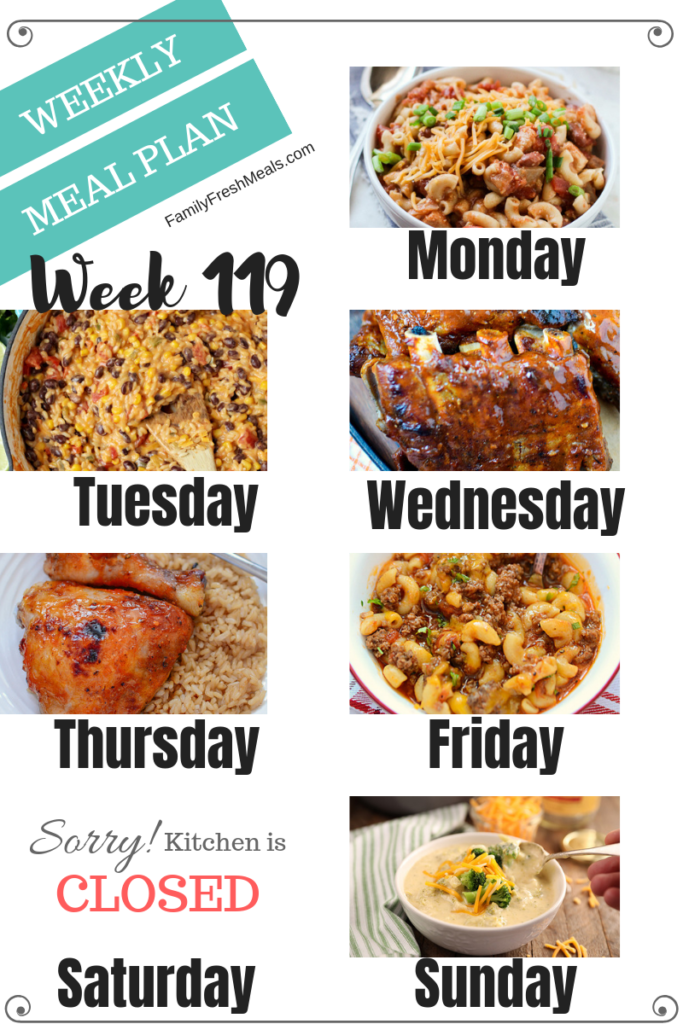 Easy Weekly Meal Plan Week 119