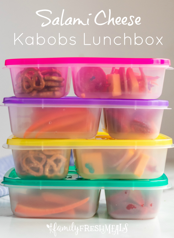 Salami Cheese Kabobs Lunchbox - School lunch packed in Easy Lunchboxes - Family Fresh Meals