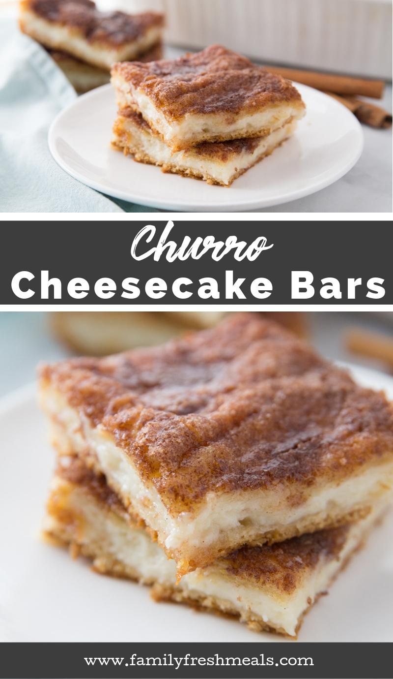 Churro Cheesecake Bars - Family Fresh Meals Easy Recipe #churro #churrorecipe #familyfreshmeals #dessert #cincodemayo #cheesecake #easyrecipe via @familyfresh