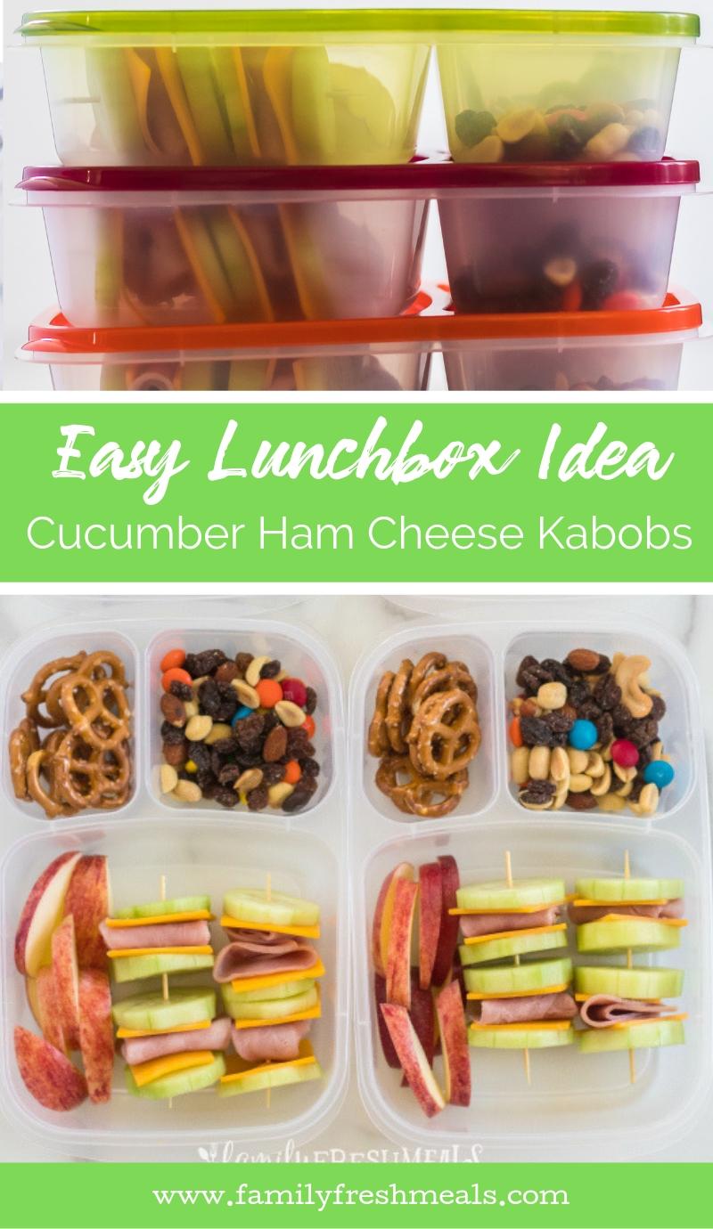 Cucumber Ham Cheese Kabob Lunchbox Idea #FamilyFreshMeals #lunchbox #lunchboxidea #healthylunchbox #cucumbers #ham #easylunchboxes #healthy #schoollunch via @familyfresh