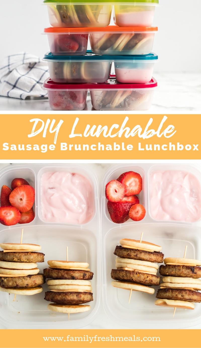 DIY Lunchable Sausage  Brunchable Lunchbox Idea #familyfreshmeals #diy #lunchable #brunchable #lunchboxidea #lunchbox #breakfast #schoollunch #lunch #easylunchboxes via @familyfresh