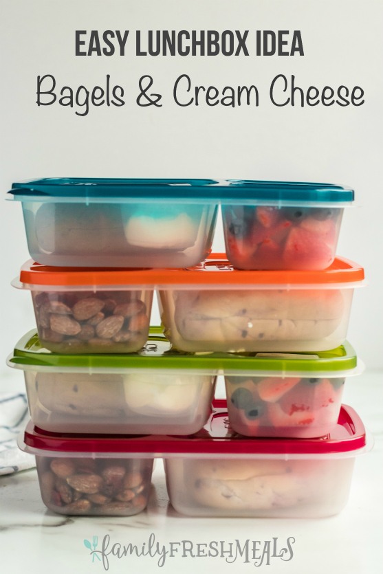 Easy Lunchbox Idea Bagels packed for lunch -- Family Fresh Meals