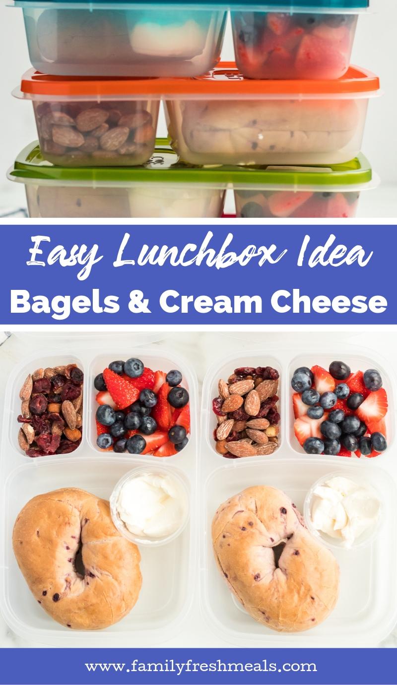 Easy Lunchbox Idea Bagels Packed for Lunch #easylunchboxes #familyfreshmeals #lunchbox #lunchideas #schoollunch #worklunch #healthylunch #bagel #lunch via @familyfresh