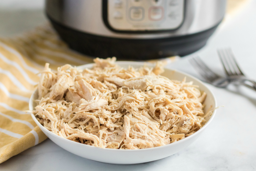 Instant Pot Chicken Noodle Soup -Shredded chicken in bowl