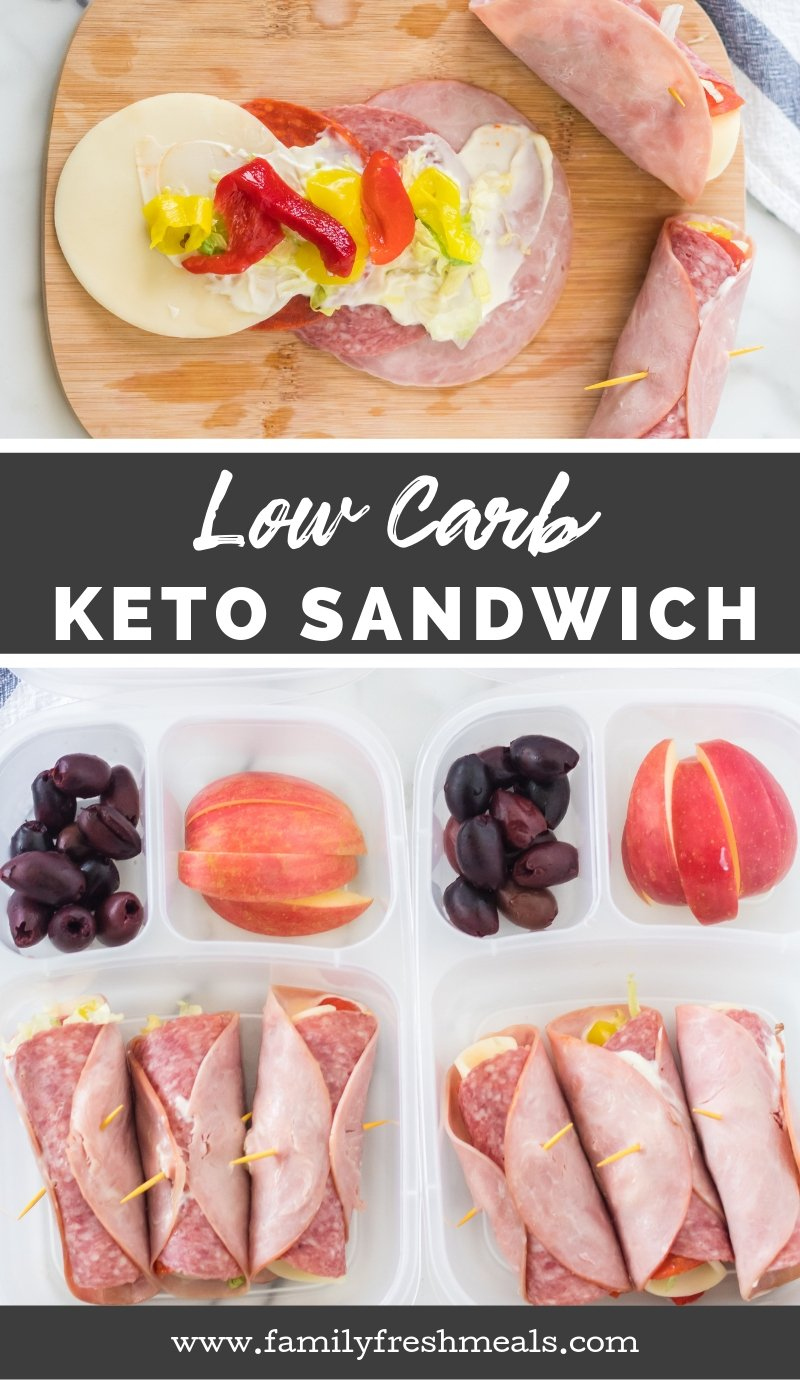 Keto Low Carb Sandwich Lunchbox #familyfreshmeals #keto #ketosandwich #lunchbox #easylunchboxes #lunchidea #paleo #healthy #lowcarb #lowcarbsandwich via @familyfresh
