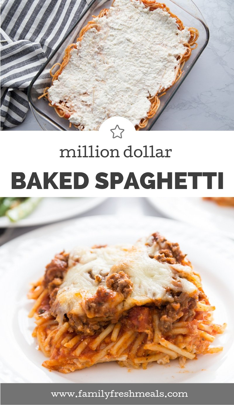 Million Dollar Baked Spaghetti Recipe #familyfreshmeals #spaghettibake #milliondollar #dinner #casserole #spaghetticasserole #familyfavorite #easyrecipe via @familyfresh