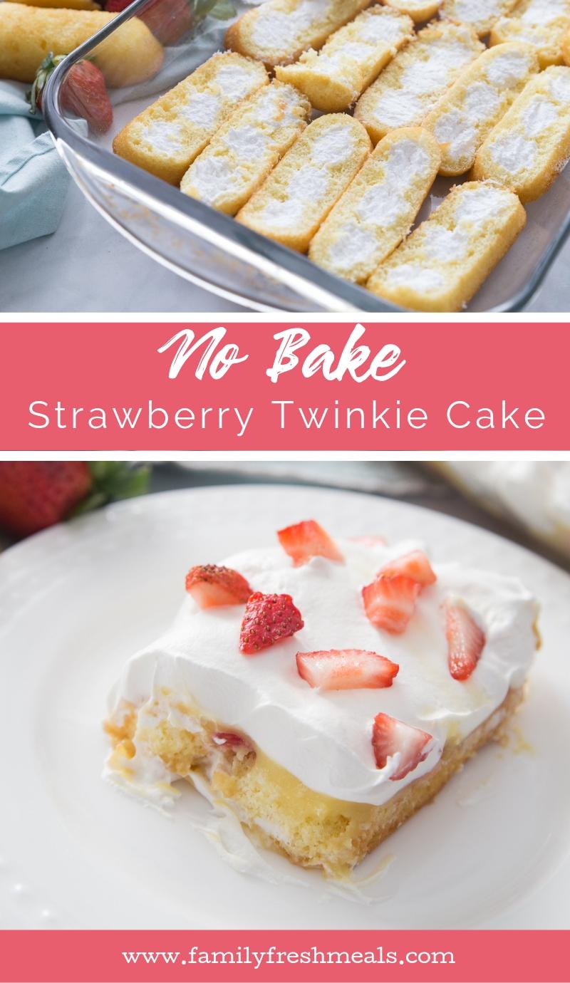 No Bake Strawberry Twinkie Cake recipe #familyfreshmeals #cake #nobake #strawberry #twinkie #twinkiecake #summerrecipe  via @familyfresh