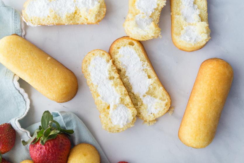 No Bake Strawberry Twinkie Cake - Twinkies cut in half