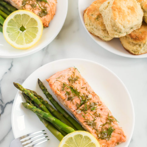 Asparagus Salmon Foil Packets - Over head beauty shot
