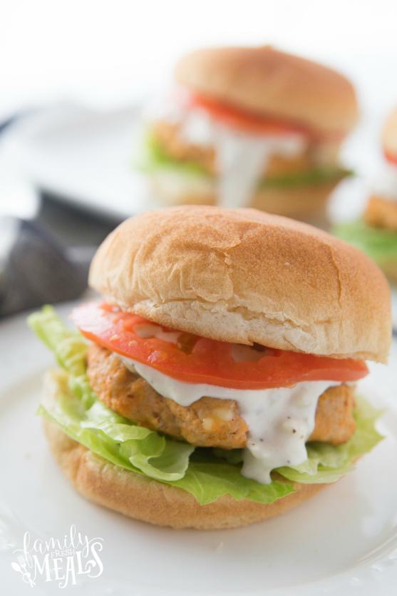 Buffalo Chicken Burgers - Family Fresh Meals Recipe