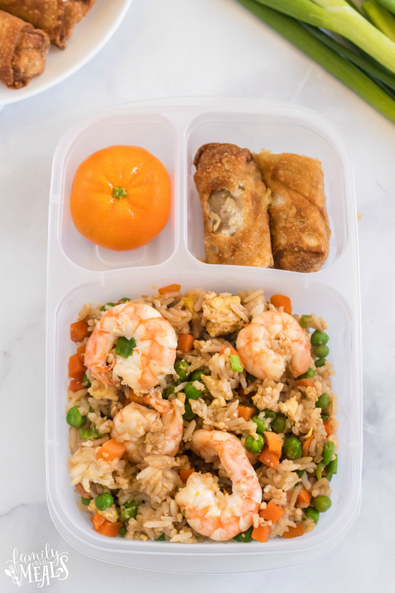 Easy Shrimp Fried Rice - Leftovers packed for lunch in Easy Lunch Boxes - Family Fresh Meals