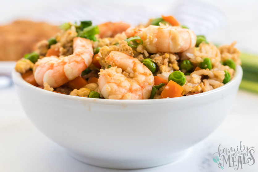 Easy Shrimp Fried Rice - Served in a white bowl