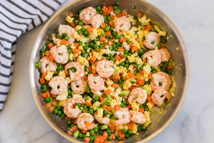 Easy Shrimp Fried Rice - eggs cooked and mixed in the shrimp and vegetables - Family Fresh Meals