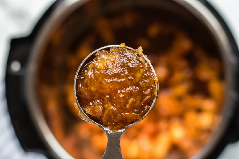 Instant Pot Orange Chicken - Adding in orange jam
