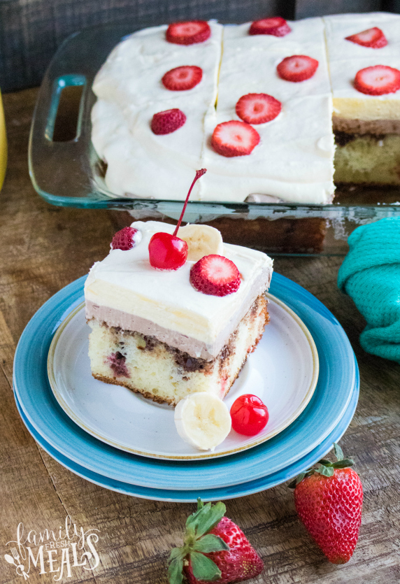 Banana Split Poke Cake - Family Fresh Meals