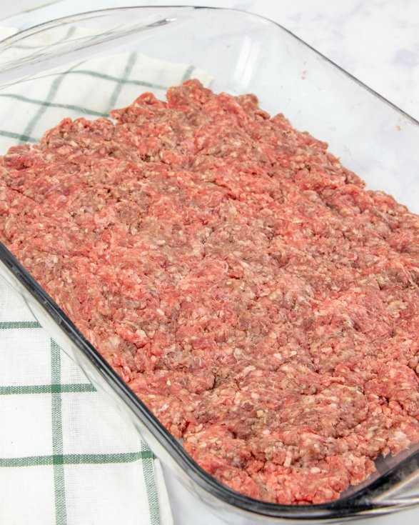Big Mac Sliders - ground beef in glass backing dish