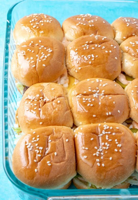 Big Mac Sliders - in baking dish