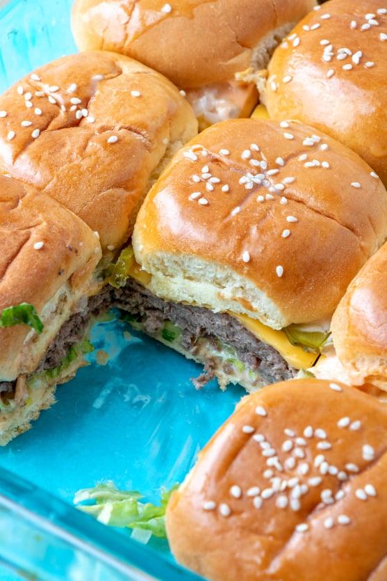 Big Mac Sliders recipe in a baking dish