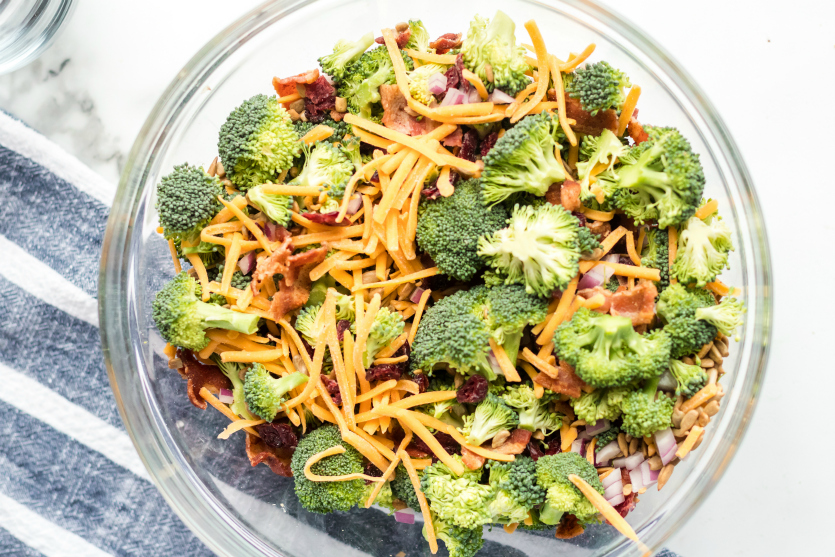 Creamy Broccoli Salad - all ingredients in a large mixing bowl