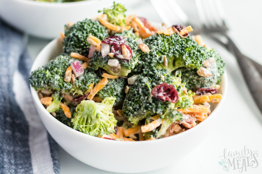 Creamy Broccoli Salad - served in a white bowl