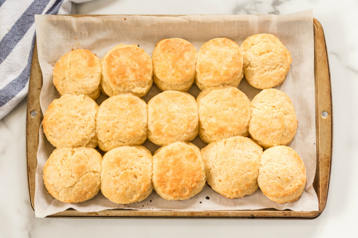 Easy Homemade Biscuits - cooked biscuits on baking sheet