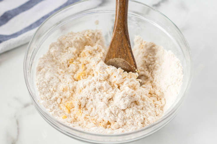 Easy Homemade Biscuits - egg mixed into flour mixture