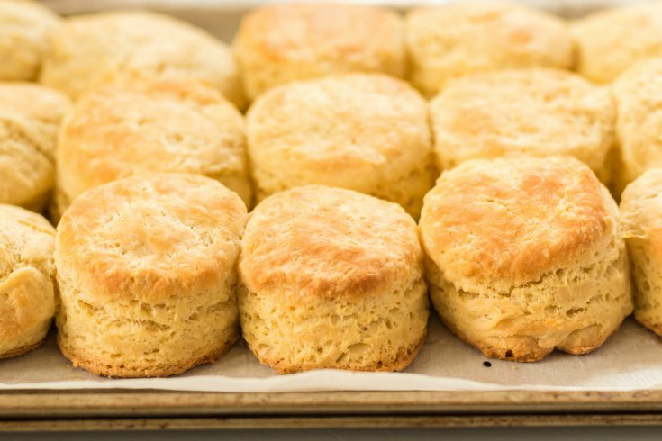 Easy Homemade Biscuits - fresh baked biscuits on a baking sheet